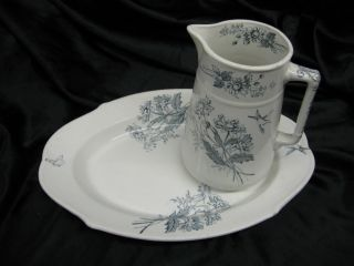 Antique 1880 T&r Boote Pitcher And Platter Daisy Pattern photo