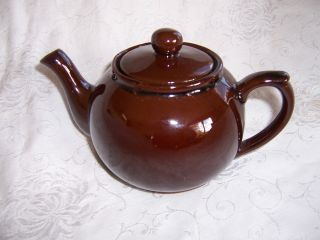 Vintage Teapot Brown Redware Pottery Ceramic With Lid Heavy. . . . photo