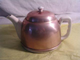 Vintage Gold Copper Color Tea Pot Unique Tea Pot Metal Cozy Felt Cover Tea Pot photo