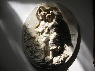 Antique Vintage German Porcelain Figurine Plaque Classical Lovers photo