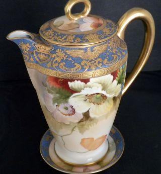 Vtg Antique Morimura Noritake Floral Gold Gilt Tea Pot & Saucer Nippon photo