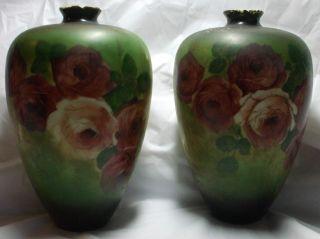 Vintage American Belleek Handpainted Red Rose Vases Estate Find Rare Pair photo
