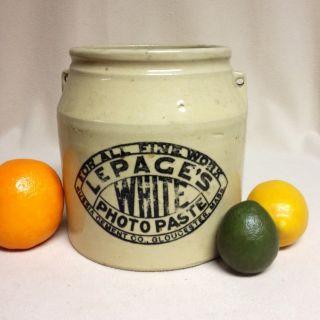 Antique Stoneware: 1880 ' S Advertising Crock,  Le Page ' S Photo Paste,  Glouster,  Ma photo