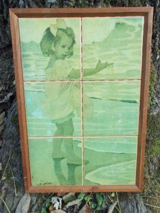 Vtg Scenic Picture Art Nouveau California Mission Taylor Tile Co? Eames Style photo
