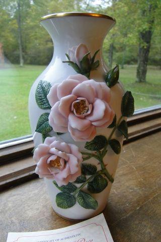 The Celestial Rose Sculptured Vase~rosanne Sanders Franklin Porcelain~certified photo