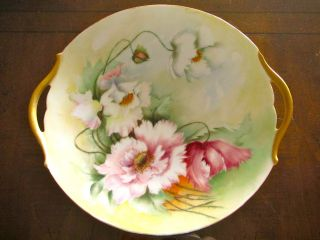 Limoges Hand Painted Poppy Flower Porcelain Plate With Handles.  T & V.  France. photo