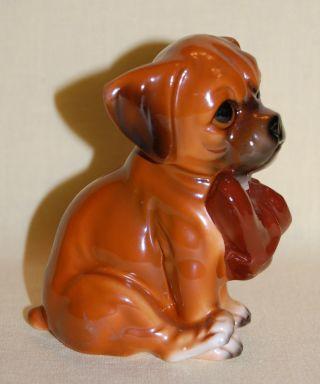 Vintage Japan Porcelain Ceramic Pottery Cute Boxer Pup With Shoe Dog Figurine photo
