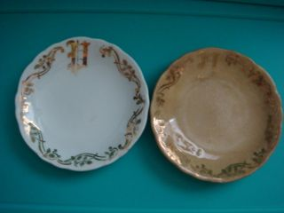 Butter Pats Dishes,  Gold Trim,  2 Small Butter Plates photo