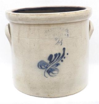 Signed Antique Blue Decorated 2 Gallon Crock Haxston & Co Fort Edward Ny photo