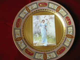 Royal Vienna Hand Painted Plate,  Heavy Gilt,  Painting Of