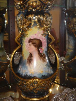 Vintage Royal Bonn Signed By Artist Woman Portrait Enameled Open Work Large Vase photo