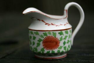 Fine Early 19th C.  Georgian Period Creamware Hand Decorated Creamer C1800 photo