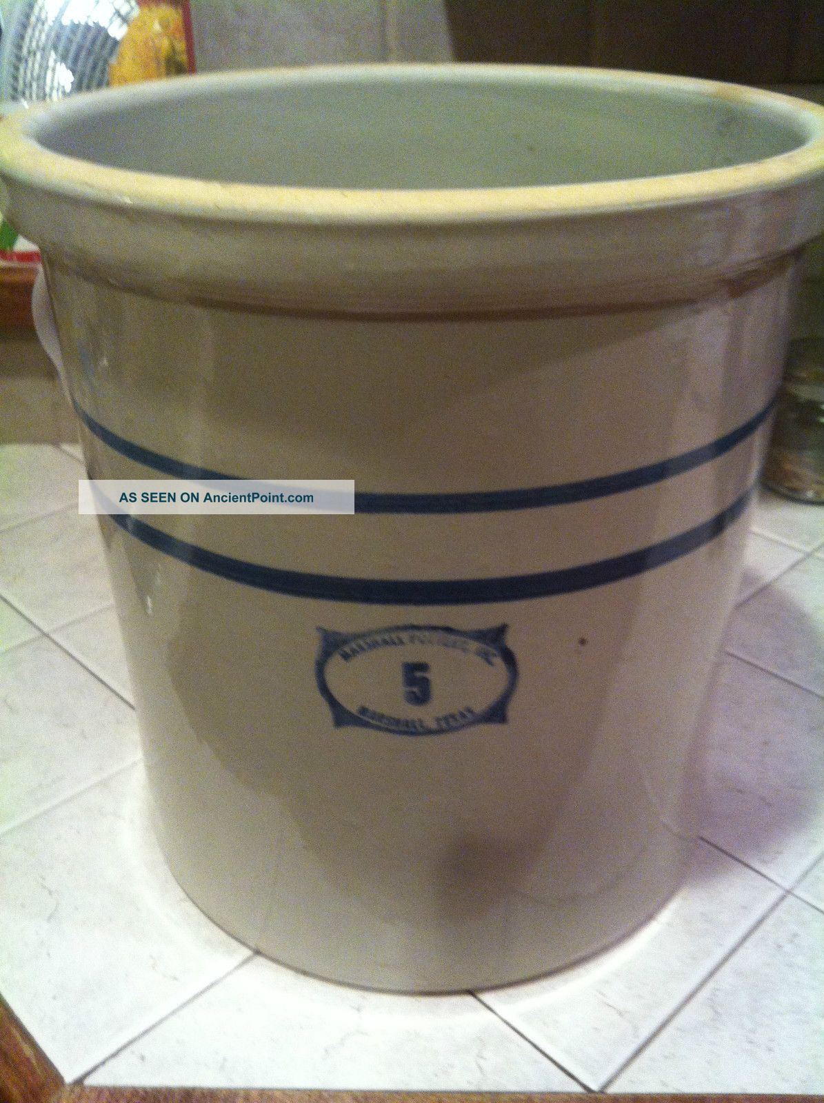 Vintage Marshall Pottery 5 Gallon Crock. .  Marshall Texas. .  Mint Crocks photo
