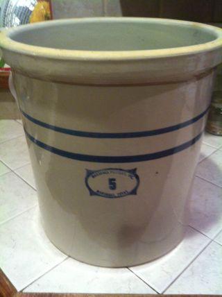 Vintage Marshall Pottery 5 Gallon Crock. .  Marshall Texas. .  Mint photo