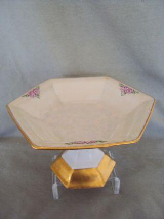 Vintage B & C Limoges Porcelain Pedestal Art Deco Dish Pink Roses Luster photo