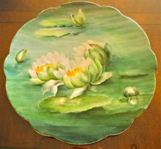 Antique Limoges France Hand Painted Floating Lotus Flowers Charger Plate.  Rare photo