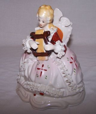 Pretty Dresden Style Lace Porcelain Woman Playing Harp Unmarked 6 3/4