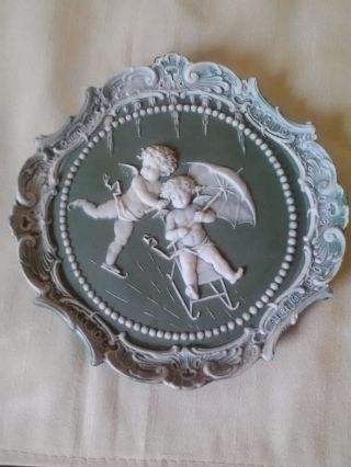 Antique Schafer Vater Jasperware Plate Cameo Cherubs Sleigh & Ice Skate photo