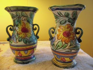 Two Hand Crafted Terracota Italian Vases/ 1920 ' S Tourist Souveniors photo