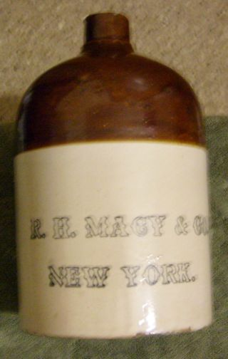 Antique R H Macy Co Company New York Gallon Moonshine Jug Crock Hollow Letters photo