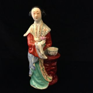 Antique Porcelain Oriental Figurine 10 In High Kwan Yin photo