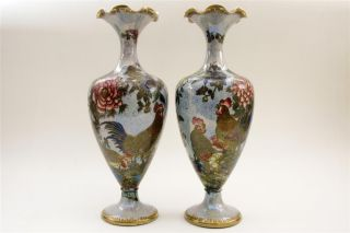 Pair Of Porcelain Carlton Ware Armand Lustre ' Roosters ' Vases Circa 1920s photo
