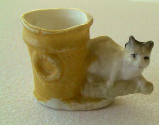 1800 ' S Bisque Hand Painted Germany Cat & Bucket Toothpick Holder Signed Sekt photo