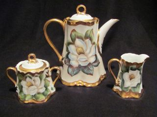Antique Hutshenreuther Selb 5 Piece Heavily Gilded