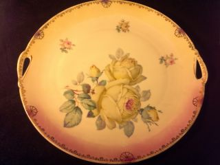 Antique 2 Handled Serving Plate Platter W/ Roses Marked Bavaria Gold Detailing photo