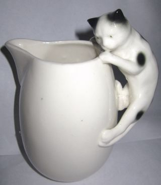 Vintage Pitcher W/ Black And White Cat - Older - Very Cute photo