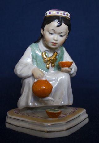 Old Porcelain Ussr Soviet Russia Small Hostess Girl Teapot 1958 photo
