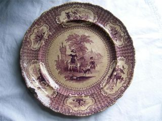 Antique Podmore,  Walker & Co Mulberry Plate~olympia Pattern~circa 1800 ' S~no Res photo