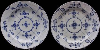 2 V.  Rare C1880 Royal Copenhagen Half Lace Large Serving Charger Plates Platters photo
