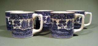 Fine 5 English Pearlware Mugs W/ Chinese Chinoiserie Decor Ca.  19th C. photo