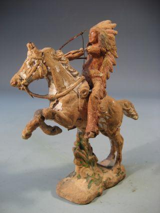 Very Fine American Indian Riding On Horseback Terracotta Figure Ca.  1920 - 30 ' S photo