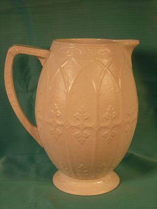 Antique 1860 ' S English Ashworth Co.  White Stoneware Pitcher W/ Gothic Pattern photo