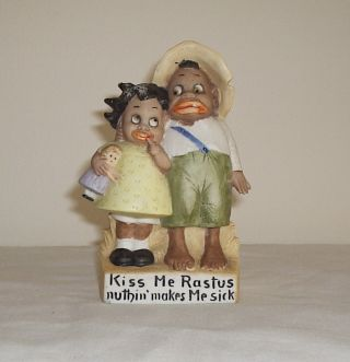 Schafer & Vater Black Memorabilia Boy & Girl Whimsical Bisque Porcelain Figurine photo