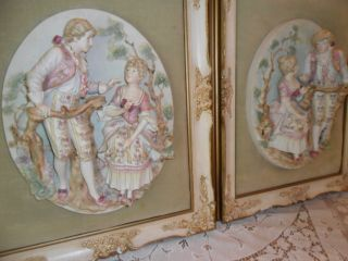 Antique Porcelain Pair Handpainted Dresden - Meissan Style Figurines/ Plaque photo