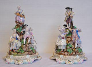 2 Rare Large Antique Meissen Porcelain Groups Dancing Around Mountain photo