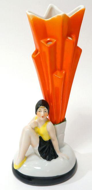1920s German Art Deco Bathing Beauty Hat Pin/flower Holder Half Doll Related photo