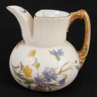 Antique Royal Worcester Floral Pitcher photo