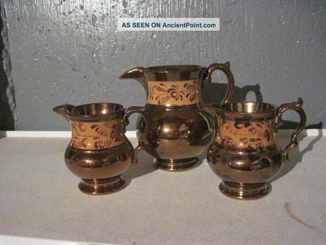 Trio (3) Antique Copper Lustre Pitcher Butterscotch Pitchers photo