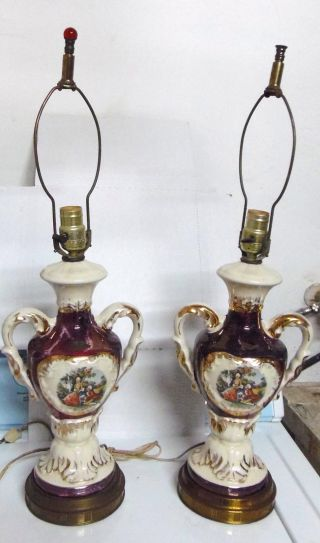 Pair Of Vintage Colonial/victioran Lamp 24kt Trim Regent China Hand Decorated photo