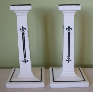 Victorian Milk Glass Candlesticks photo