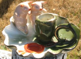 1880s German Made,  2 Pink Pigs On Cabbage Green Candle Stick,  Porcelain Fairing photo