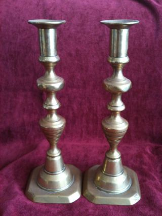 Pair Of Victorian Brass Candlesticks 25cm High Good Condition Great For Display photo