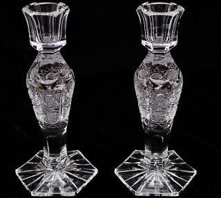 Pair Of Beautifully Cut Crystal Clear Glass Tall Candlesticks Candle Holders N/r photo