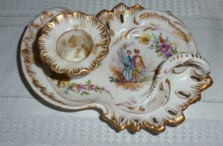Antique Ceramic / Porcelain Candle Stick Holder With Handle,  Gold Trim photo