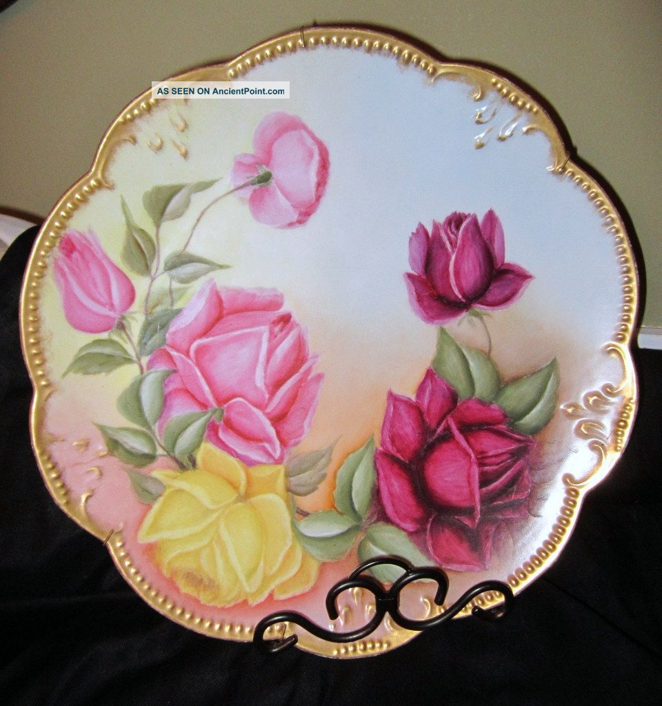 Antique Akd France Limoges Charger~beautiful Old Fashioned Roses~beaded Trim Plates & Chargers photo