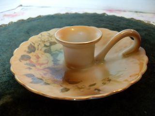 Lovely Vintage Hand Painted Floral Porcelain Handle Candle Holder photo